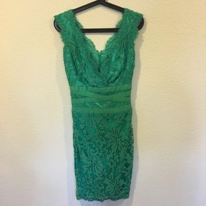 Tadashi Shoji embroidered lace v-neck green dress
